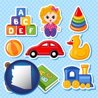 arizona map icon and a variety of toys