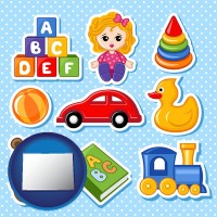 colorado map icon and a variety of toys