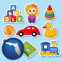 florida map icon and a variety of toys