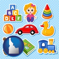 idaho map icon and a variety of toys