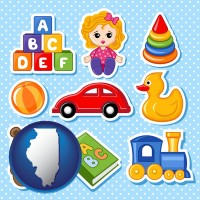 illinois map icon and a variety of toys