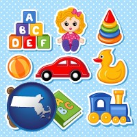 massachusetts map icon and a variety of toys
