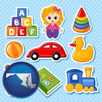 maryland map icon and a variety of toys