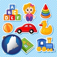 maine map icon and a variety of toys