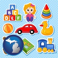 michigan map icon and a variety of toys