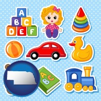 nebraska map icon and a variety of toys