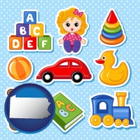 pennsylvania map icon and a variety of toys