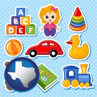 texas map icon and a variety of toys
