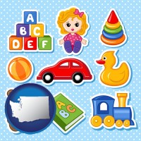 washington map icon and a variety of toys