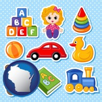 wisconsin map icon and a variety of toys