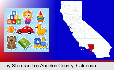 a variety of toys; Los Angeles County highlighted in red on a map